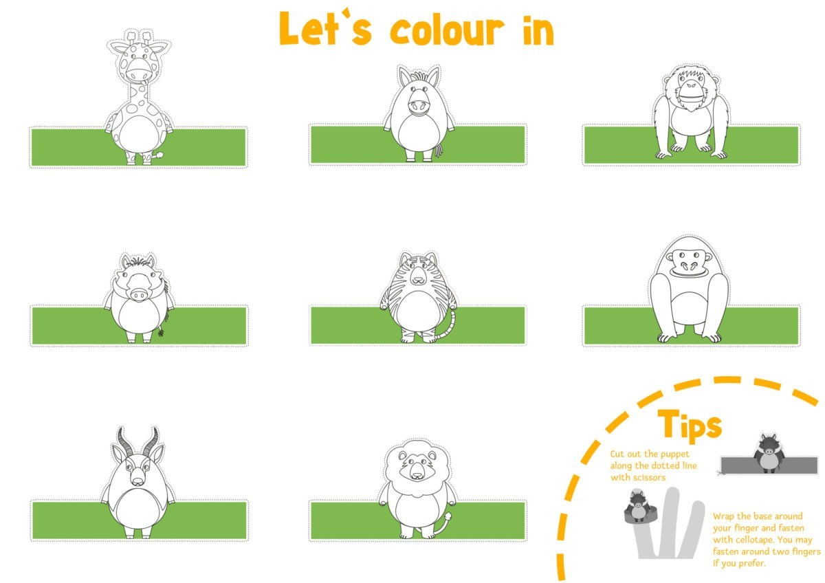 Wild Animal Finger Puppets – Page 1 – Black and White