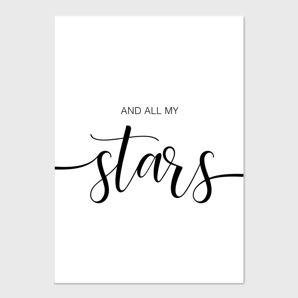 And all my stars – no frame