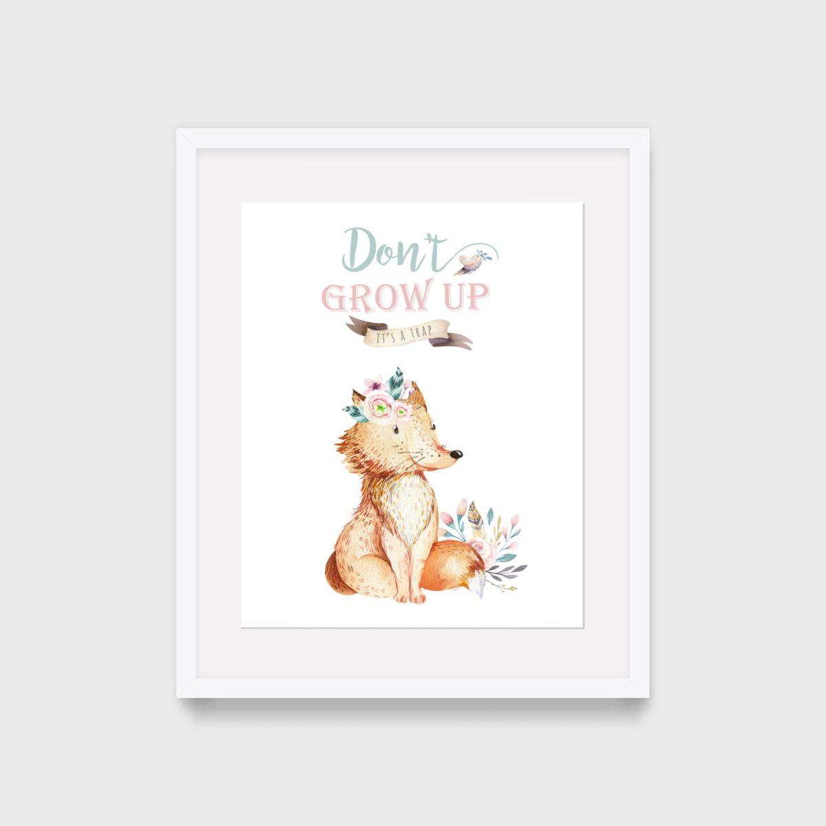 Dont grow up – fox – frame