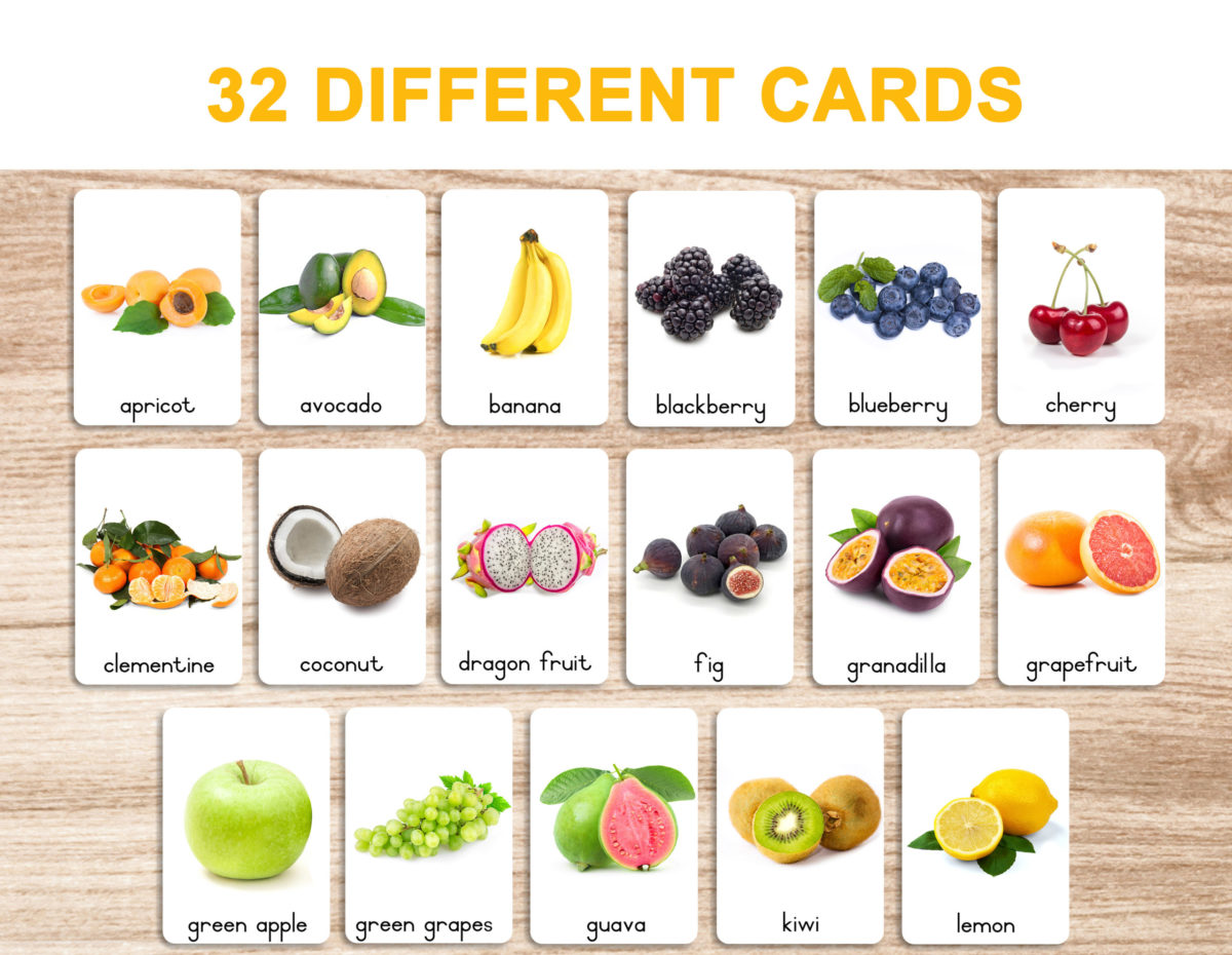 3. Fruits – Flash Cards template