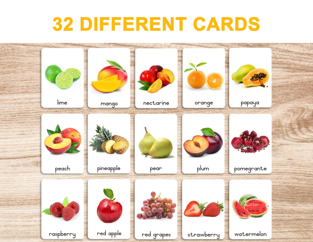 3a. Fruits – Flash Cards template