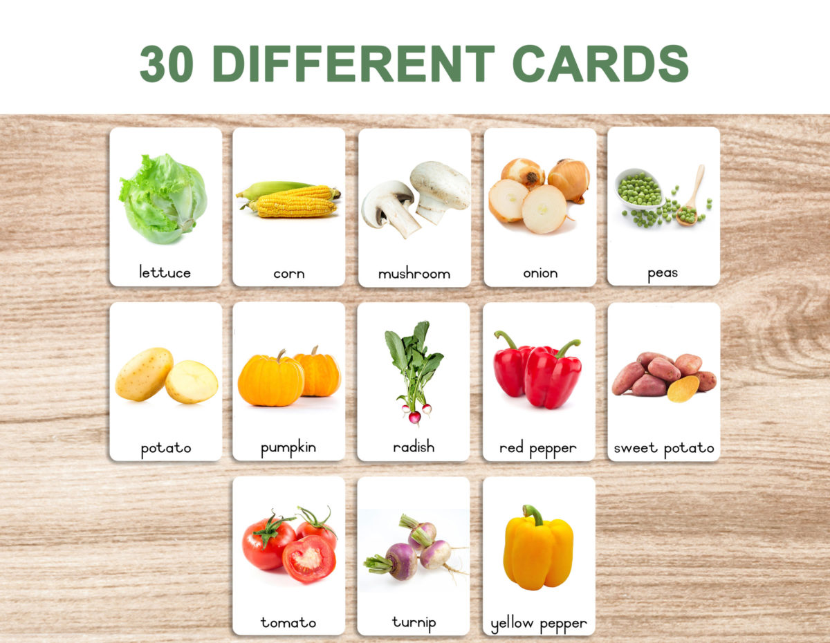 3a. Vegetables – Flash Cards template