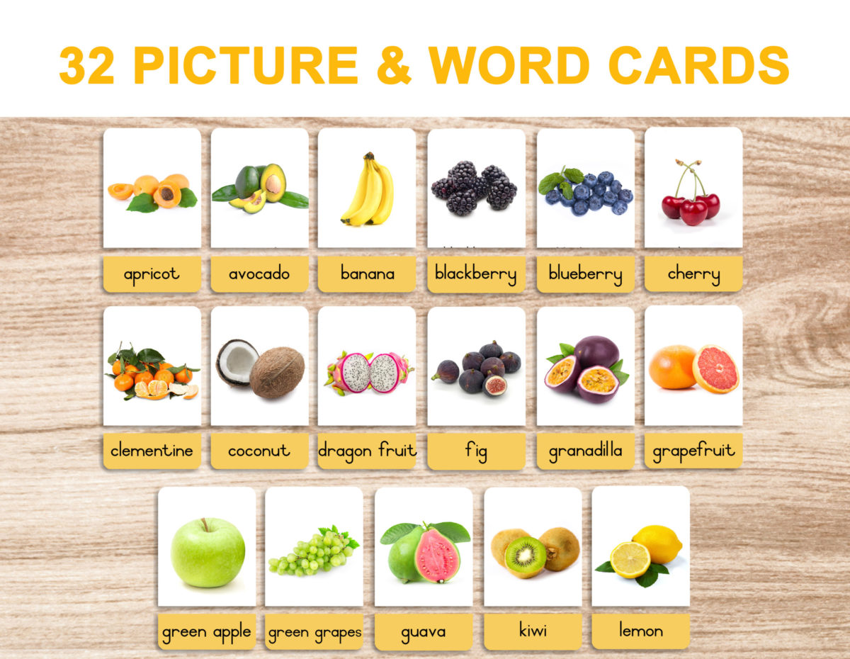5. Fruits – Picture and Word Template 1