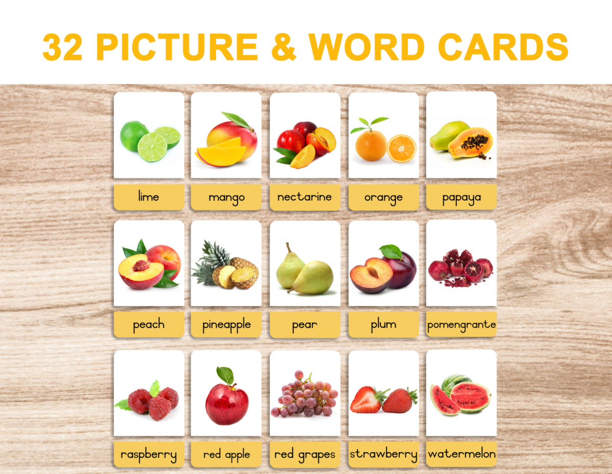 5a. Fruits – Picture and Word Template 1