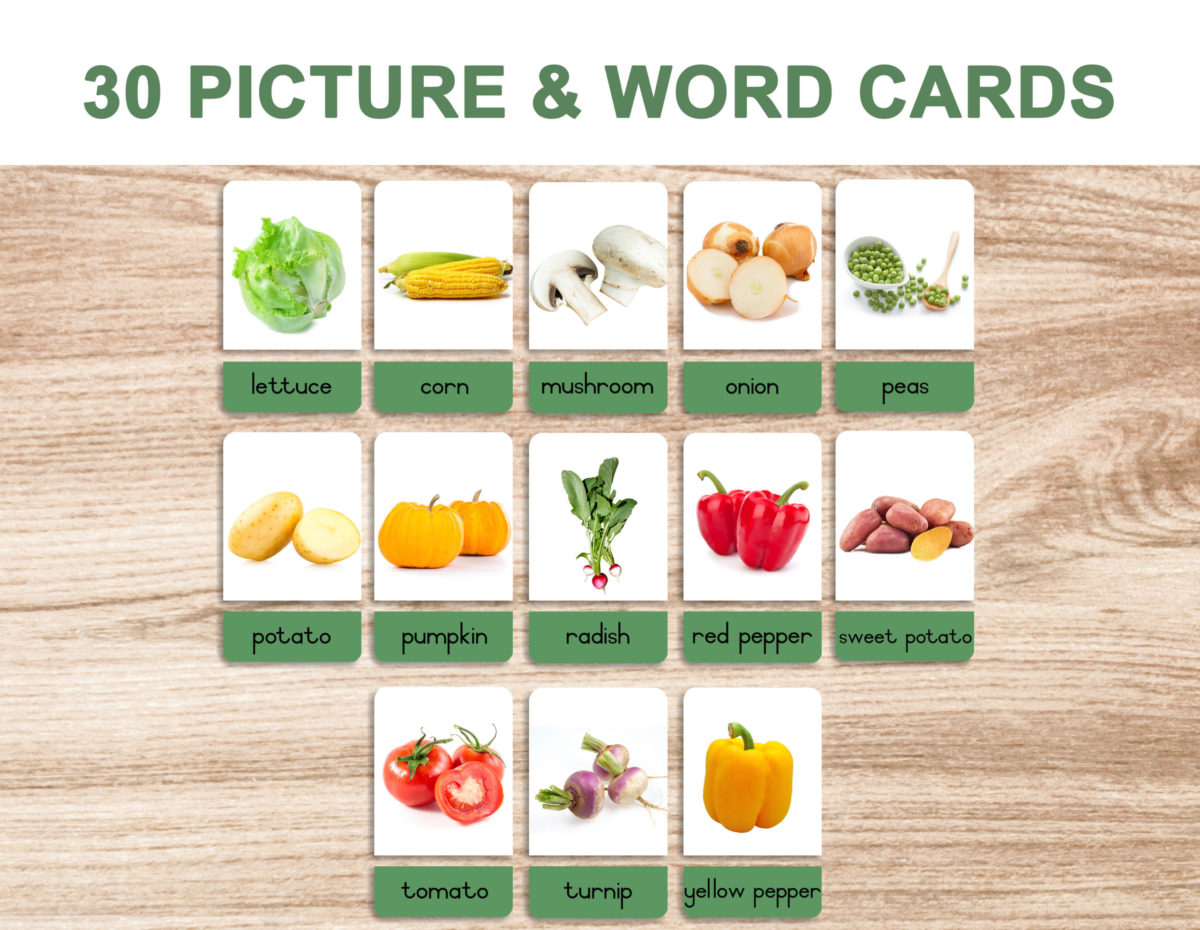 5a. Vegetables – Picture and Word Template 1