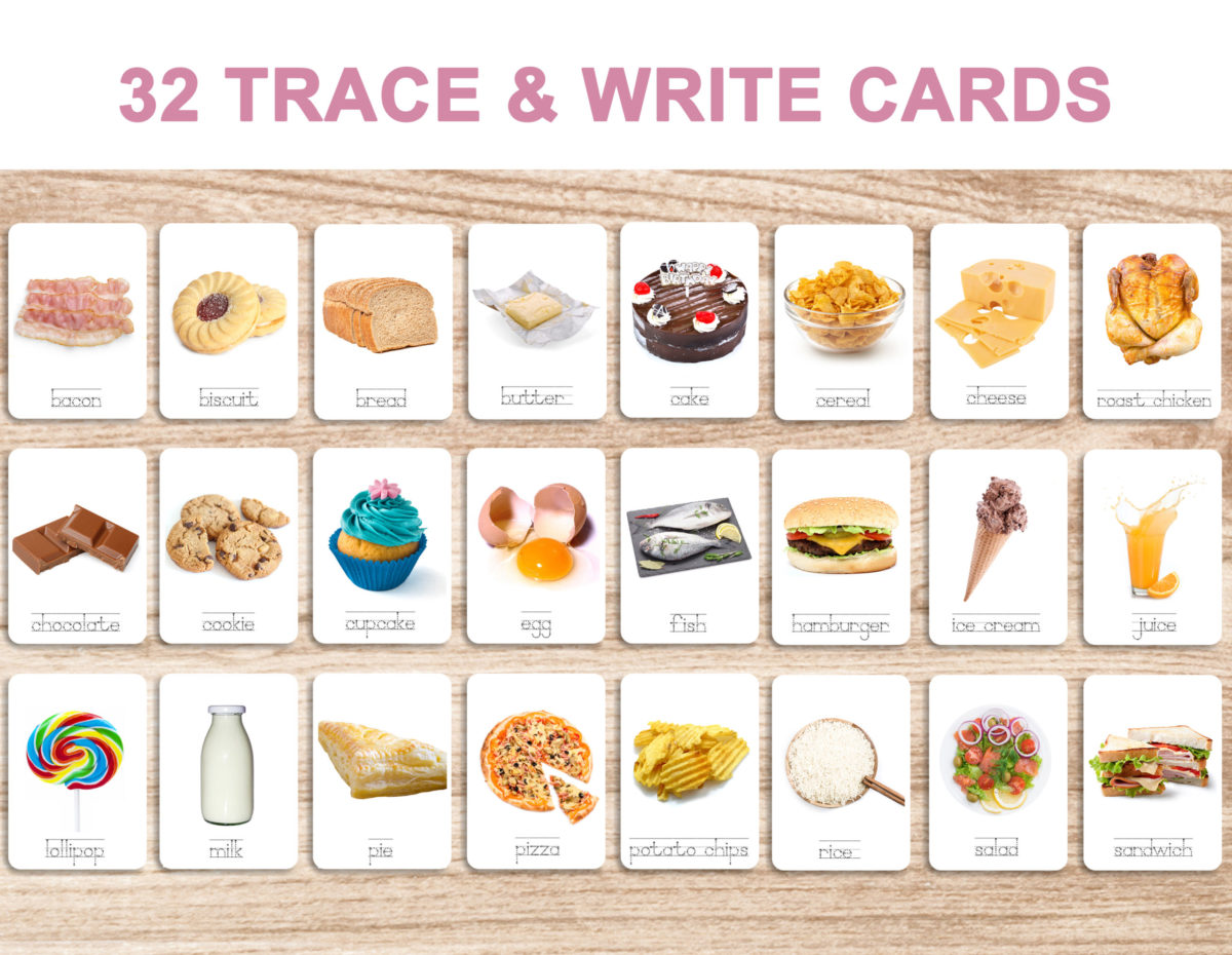 7. Foods – Trace and Write Cards – English