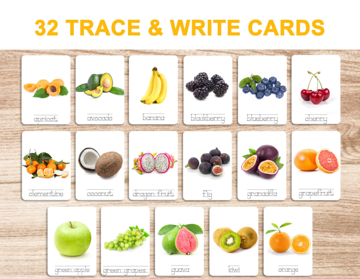 7. Fruits – Trace and Write Cards template