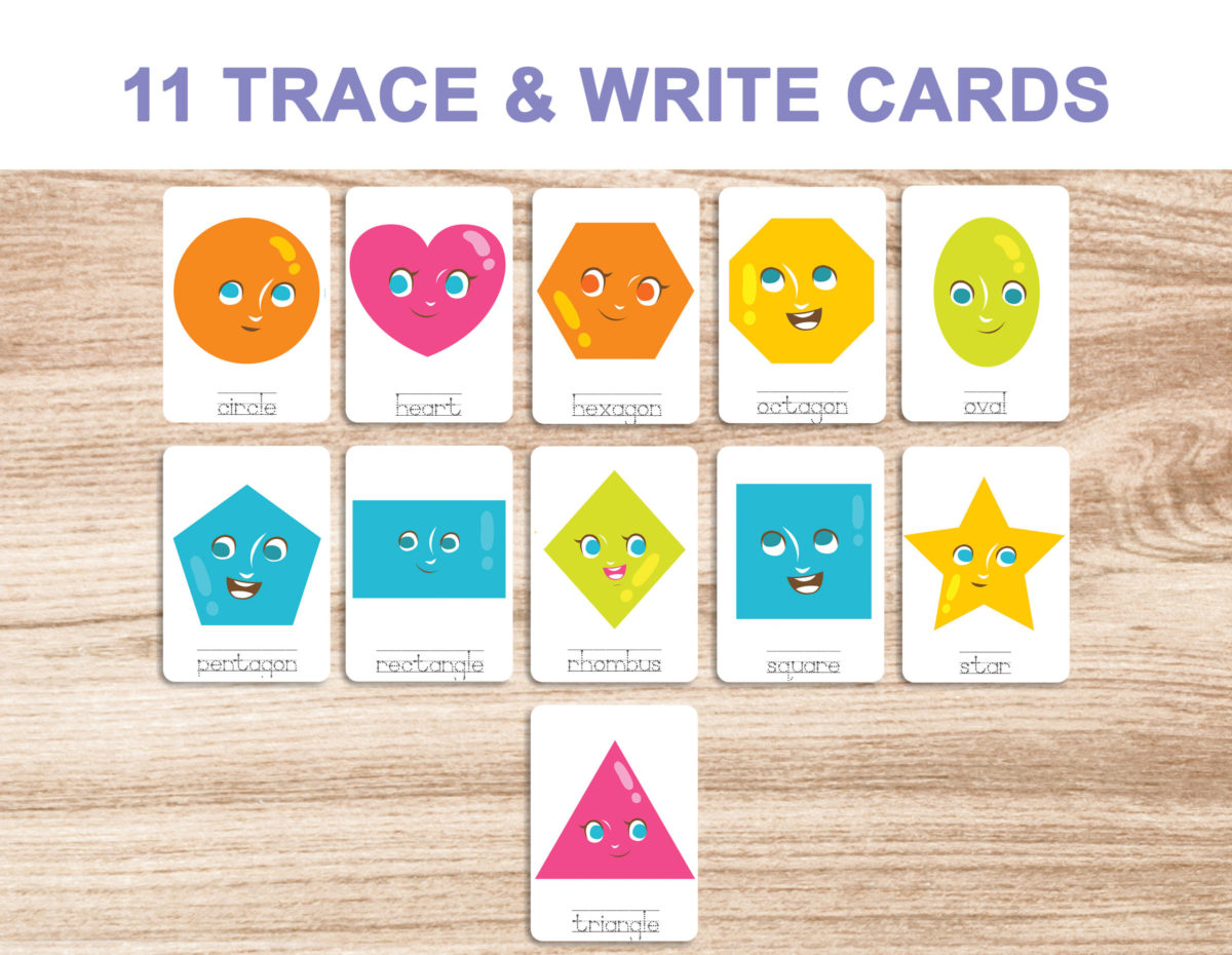 7. Shapes – Trace and Write Cards template