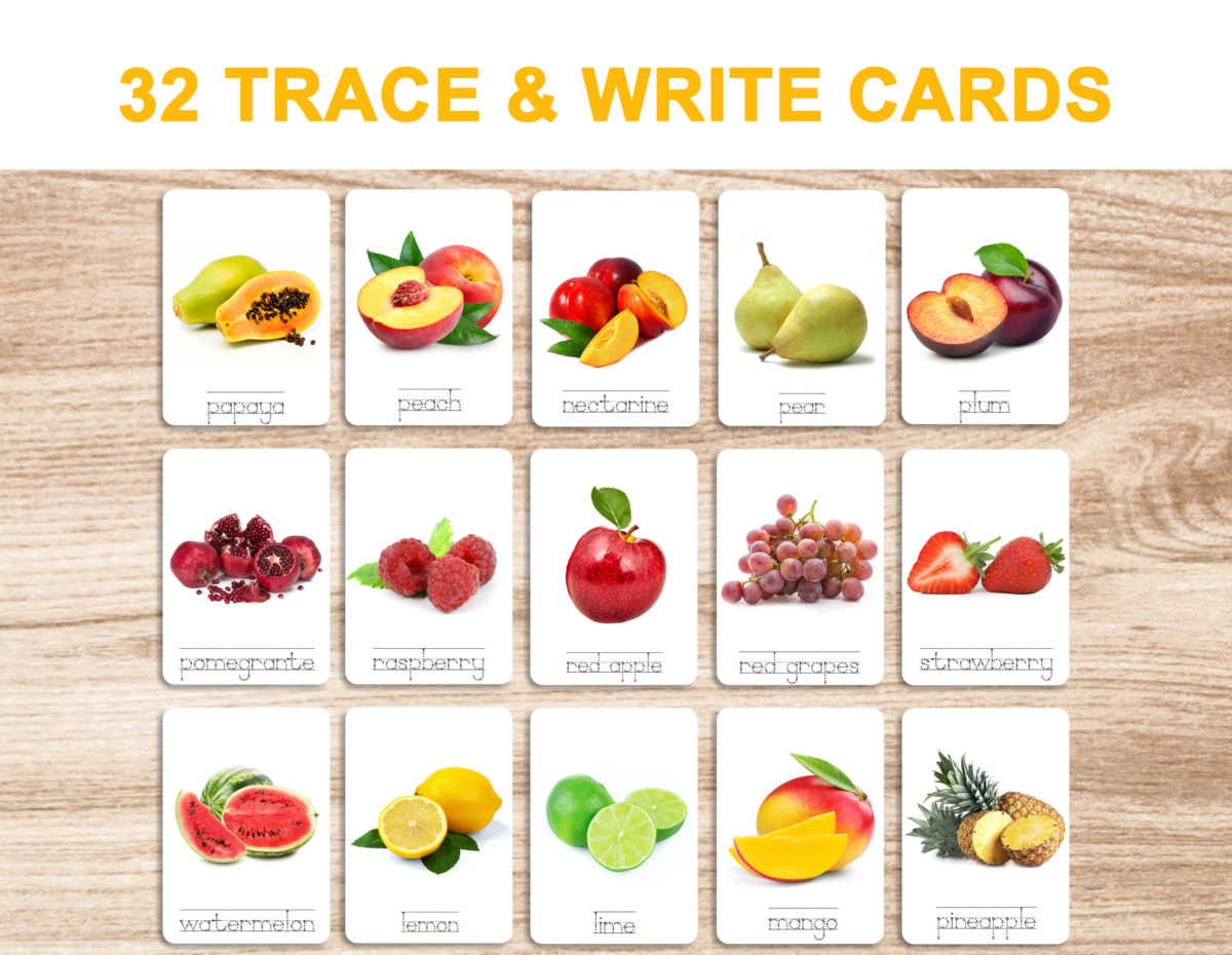 7a. Fruits – Trace and Write Cards template