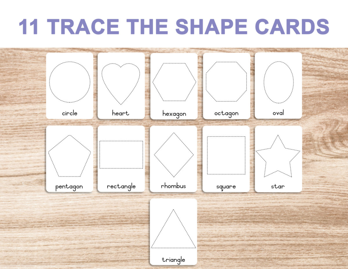 7a. Shapes – Trace and Write Cards template