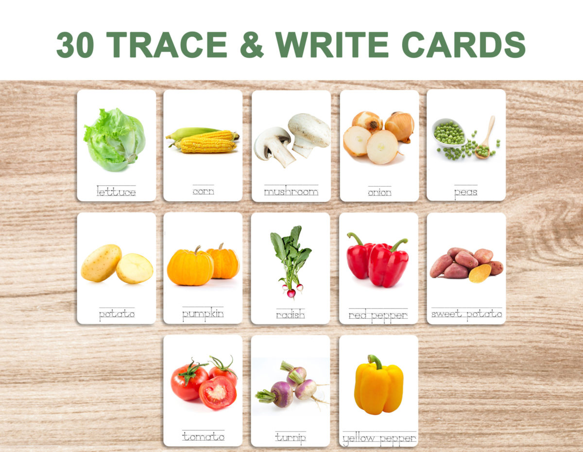 7a. Vegetables – Trace and Write Cards template