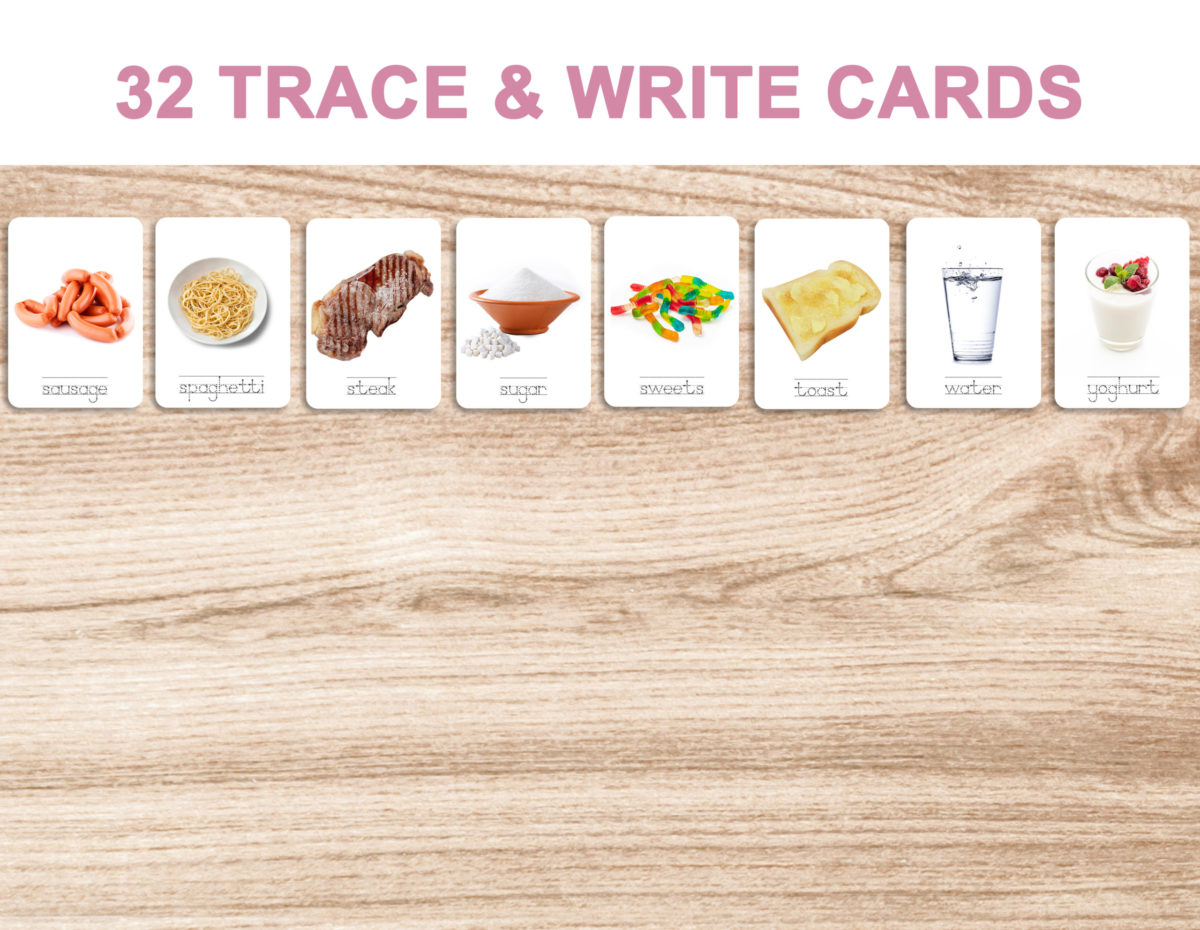 8. Foods – Trace and Write Cards 2 – English