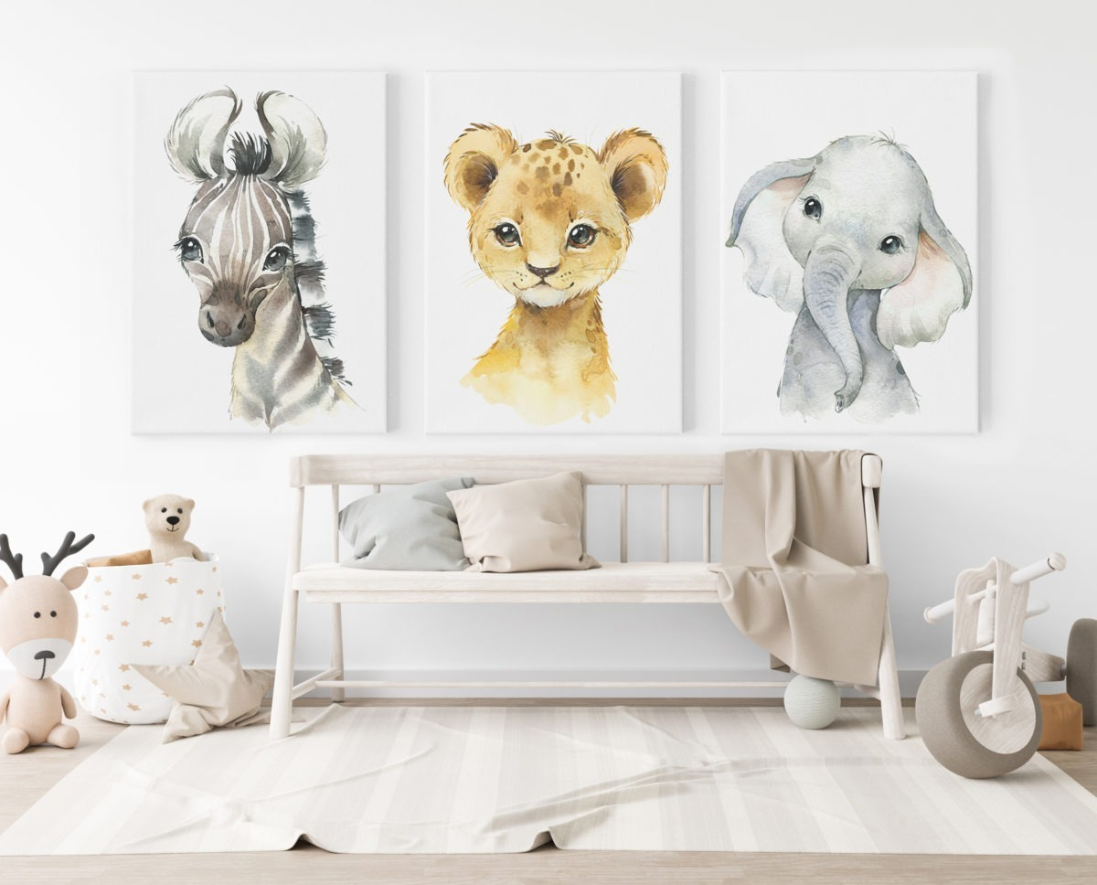 Baby Animal Boy Feature Wall