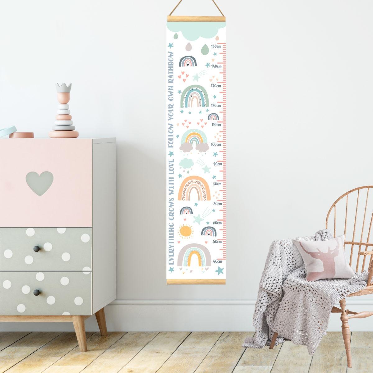 Rainbow Height Chart – bedroom